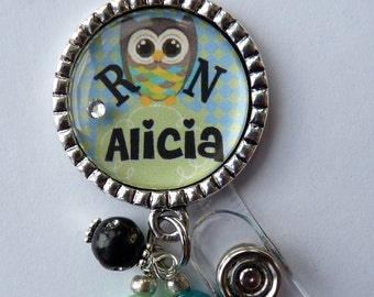 Personalized ID badge reel Id Nicu Rn Bsn Np Lmt pastel teal and white vintage bottle cap jewelry necklace id clip pretty owl