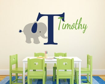 """Monogram Personalized Name and Initial Cute Elephant Vinyl Decal Boys Room-20"""" x 45"""""""