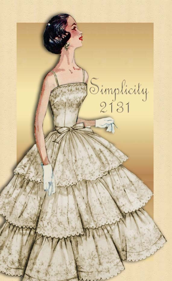 1950s Dress Pattern Simplicity 2131 Prom Or By