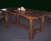 Reclaimed Wood Trestle Dining Table - Heavy Distressed - Barnwood Dining Table