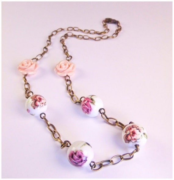 vintage rose necklace, antique copper chain with rose and flower beads.