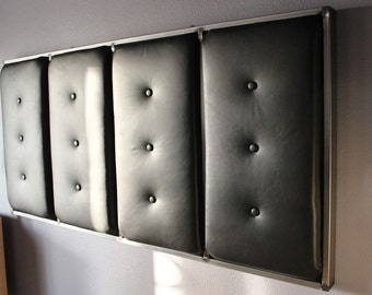 Black Leather and Steel Button Tufted Headboard - Cal King