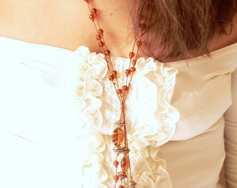 Statement topaz necklace handmade with topaz glass beads and metal bead .ooak made in Italy.