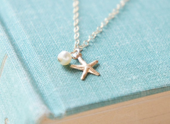 Tiny starfish freshwater pearl 14k gold fill necklace- modern minimalist jewelry for everyday by noa noa
