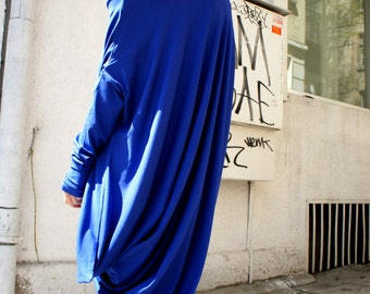 Oversize Royal Blue Loose Casual Top / Asymmetric Raglan Long Sleeves Tunic  / Maxi Extravagant Dress A02044