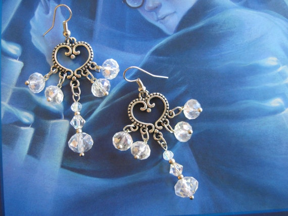 sparkly dangly chandelier earrings of clear ab glass