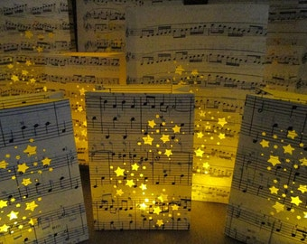 Wedding Package of 20 Luminary Bags, Music Centerpieces, Wedding Luminaries, Wedding Lanterns, Paper Lanterns, Music Note Luminaries