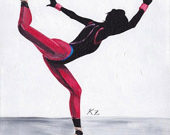Original Acrylic Painting on Canvas 'Beijing' 9x12 Dancer Ballet Modern Contemporary