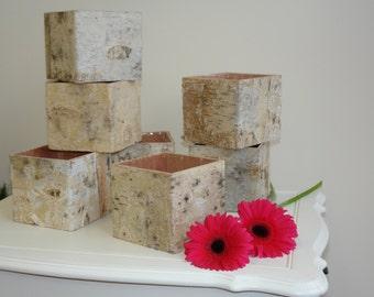 rustic planter birch bark wood vases basket flower pot home decor rustic wedding decor centerpieces wood boxes