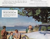 Avis Rent-a-Car Ad, Benzie State Park Michigan Beulah, 1950s Mid Century Rental Car, Family Beach Picnic, Ford Fairlane