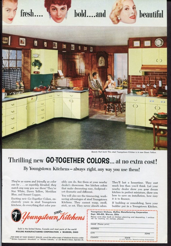 Items Similar To Vintage Youngstown Kitchens Ad 1950s
