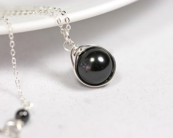 Black Pearl Necklace Wire Wrapped Jewelry Handmade Sterling Silver Pearl Necklace Pearl Solitaire Necklace Swarovski Pearl Necklace