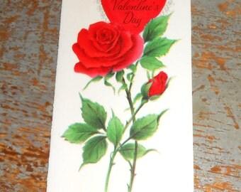 Vintage Greeting Card, Valentine's Day, Hallmark, Rose, Red, Unused