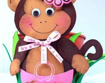 1  Safari centerpiece metal bucket/ monkey / Baby Shower / Its a Girl