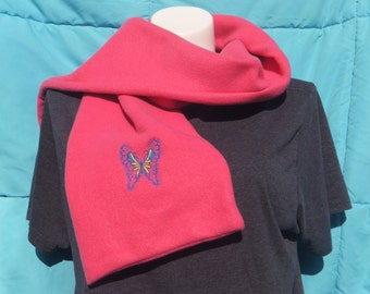 Butterfly Embroidered Mauve Fleece Scarf Recently Reduced!