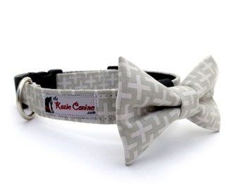 Grey Dog Collar (Light & Dark Grey, Gray Crosses) (Dog Collar Only - Matching Bow Tie Available Separately)