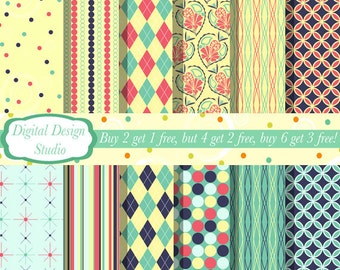 Retro paper and background set 2. INSTANT DOWNLOAD 12 sheets for personal and commercial use.