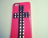 iPhone 5 Steampunk Hot Pink Cross Studded case