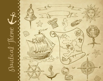 Nautical clip art collage, hand drawn sea clipart, treasure map, pirates, adventures,compass,anchor. for Personal and small Commercial Use