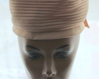 1960s Peach Satin Pillbox Hat  - Excellent Condition - Union Made USA