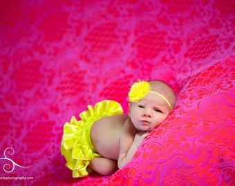 Shabby Headband, Baby Headband, Baby Girl, Sunny Yellow Headband, Yellow Headband