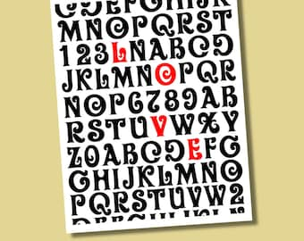 LOVE Typography Giclee Print in Oliver Font