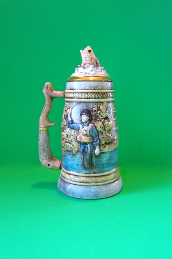 Custom Order for Tracy- Ceramic Fisherman Beer Stein, hand painted, real gold trim