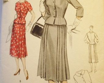 Two Piece Dress / Suit Pattern /Vogue Special Design S4491 / Vintage Sewing Pattern/ 1950s/ Bust 36