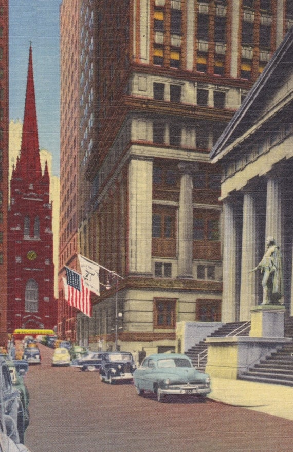 New York City - NYC, WALL STREET, Vintage Linen Postcard, Unused, 1940s, Alfred Mainzer