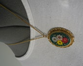 Vintage Italian Mosaic Floral Necklace