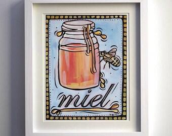 "Honey Print, Honey Kitchen Decor, 8x10"" Honey Pot an Bea Ink and Acrylic Painting reproduction, Food Print, Still Life Kitchen Decor."