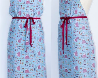 Garden work apron Blue red cat print Mothers day Sturdy cotton blend Long waist ties Pockets