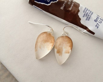 Abstract Burnt Umber - Wearable Artwork Earrings  - Original Watercolor Paintings - One of a Kind - Sterling Silver