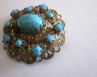 SALE SALE Vintage West Germany Turquoise and Blue Beaded Brooch in Gold Tone Finish, West Germany