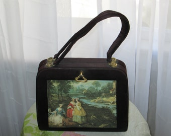 """Vintage 1940's Unusual Little Black Purse """"Every Picture Tells A Story"""""""
