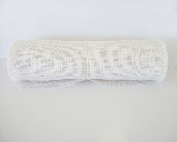 White burlap table runner 12 inches x 60 inches 5 foot for Table runners 52 inches