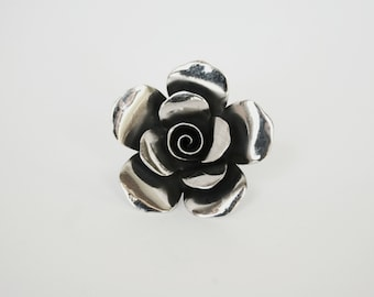 Beautiful handmade sterling silver statement ring, artistic arrangement of rose flower petals: 'The Full Blossom'