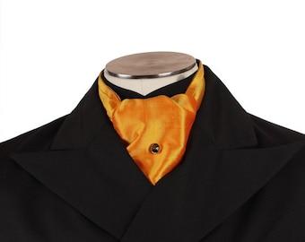 Cravat - Saffron Orange Thai Silk - OOAK - Victorian Steampunk
