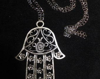 Big Hamsa Hand Necklace, Antique Silver Brass Necklace, Bohomian Style Necklace, Protection Pendants, Gift for Her, Christmas Sale