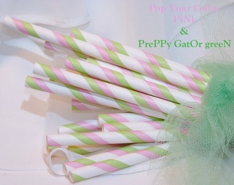 PREppY PINK and GATOR Green Paper Straws, 50 Pink and Green Striped Prep SchooL  BeachY Paper Straws, Party, Wedding, Events