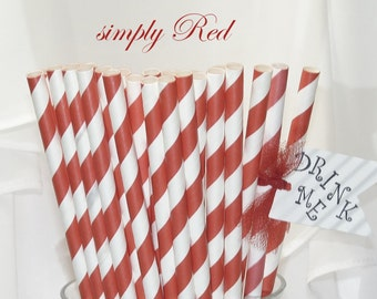 50 Red Striped Paper Straws - Birthday Party - Carnivals-  Barbeque All American Simple RED Stripes for Any Event