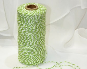 APPLE GREEN Trendy Collection Cotton Twine  - 12 Yards  Color Twisted Twine - Invitations Packages, Homemade Tags, Crafts, Shower, Party