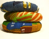 African Block Print Bangle Set -  Free Ring With Purchase
