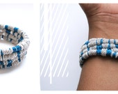 Blue & Grey Linen Coil / Thread Wrap Cuff Bracelet