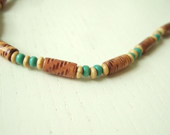 ZANZIBAR - Necklace for men with wooden beads Beach Tribal African Carribbean South Pacific style