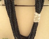 Charcoal Scarf - Crochet Infinity Scarf - perfect gift - Circle Scarf - charcoal grey scarf