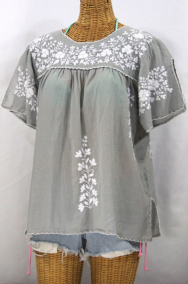 embroidered mexican blouse lijera in grey by sirenology