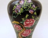 Handpainted Black and Floral English Vase
