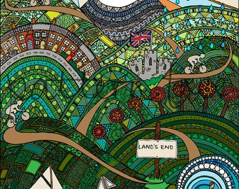 Land's End to John O'Groats Art Print. Hand Drawn and Digital. 8.3 x 11.7 inches, 21 x 29.7cm (A4) Intricate Pattern Landscape Illustration.