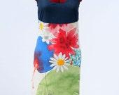 Recycled cotton dress, women's knee length pencil sundress